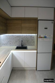 Small Apartment Kitchen, Living Room Kitchen, Kitchen Corner, Interior Design Kitchen, Small Spaces, Sweet Home, Kitchen Cabinets, House Design, Furniture