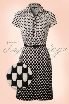 King Louie 60s Polo Black and Cream Dress 106 14 16539 20160215 0005b