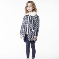 CARREMENT BEAU Manteau tissage fantaisie fille bleu - Kids around