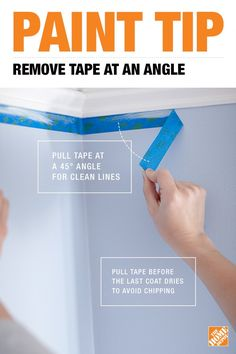 How to Paint Like a Pro: Pull painter's tape off your surface at a angle for the cleanest lines. Home Renovation, Home Remodeling, Paint Colors For Home, House Colors, Painting Tips, House Painting, Painting Walls, Diy Home Repair, Tips & Tricks