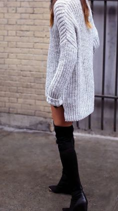 pinterest @esib123  chunky sweater and thigh high boots