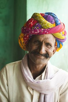 A man from Rajasthan wearing traditional clothes and turban, Bundi, Rajasthan, India.  Alex Treadway