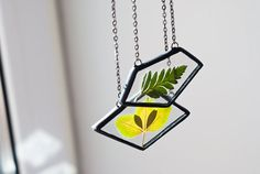 Modern stained glass jewelry geometric pendant unique pressed leaves neckalce simple jewelry in black