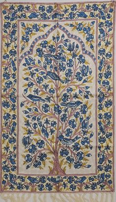 "White Art Silk Embroidered Carpet Rug – Tree of Life Suzani Crewel Work on Linen Fabric Kashmir Huge Wall Hanging ~ 48"" x 30"" - NH17255"
