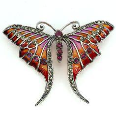 Victorian Edwardian Downton Abbey Art Nouveau style 925 Sterling Silver Ruby Marcasite Enamel Butterfly Brooch & Pendant - Truly Venusian