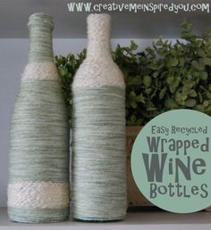 Easy Wrapped Wine Bottles Recycled Home Decor - Creative Me Inspired You! Wine Bottle Art, Painted Wine Bottles, Wine Bottle Crafts, Bottles And Jars, Jar Crafts, Homemade Home Decor, Homemade Gifts, Diy Home Decor, Wrapped Wine Bottles