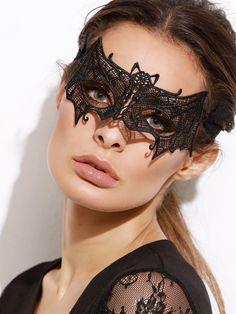 Black Bat Shaped Lace Mask — 0.00 € -----------------------------color: Black size: None