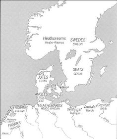 Tribes and their location. Beowulf had contact with most of these tribes.