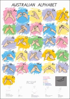 Australian Fingerspelling Alphabet Poster- http://www.handscantalk.com.au/item_32/Australian-Fingerspelling-Alphabet-Poster.htm# Alphabet Signs, Sign Language Alphabet, Learn Sign Language, Baby Sign Language, Deaf Language, Alphabet Posters, Language Arts, Australian Sign Language, American Sign Language