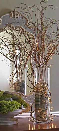 The Chic Technique: Fall Decorating Idea - Branches, Rocks and Mini Lights. - The Chic Technique: Fall Decorating Idea - Branches, Rocks and Mini Lights. Christmas Centerpieces, Xmas Decorations, Wedding Centerpieces, Curly Willow Centerpieces, Fairy Lights, Twig Lights, Vase With Lights, Floral Arrangements, Christmas Crafts