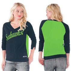 Women's Seattle Seahawks Touch by Alyssa Milano College Navy MVP Summer Sweater