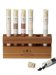 Gourmet salt | Who knew that there are artisanal salts? This six-salt set features red salt from Hawaii, smoked salt from Denmark, pink salts from Pakistan and Australia, white salt from El Salvador and black salt from Cyprus. Salts of the World Test Tube set, $35 at Uncommongoods.com  Uncommon Goods