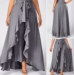 Grey High Waist Slimming Pants With Skirt Tie Front Grey Side Zipper Overlay Pants Tie Waist Side Zipper Grey Overlay Pants—LOVE this look and need to figure out how to make them! Palazzo skirts for all occasions. Ideas for creativity, patterns. Mode Abaya, Mode Hijab, Look Fashion, Fashion Outfits, Womens Fashion, Fashion Trends, Fashion Pants, Beautiful Outfits, Cool Outfits