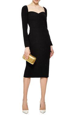 Nero Black Crepe Long Sleeve Dress by Dolce & Gabbana - Moda Operandi
