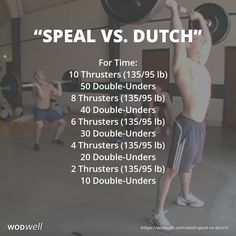 """Speal vs. Dutch"" WOD - For Time: 10 Thrusters (135/95 lb); 50 Double-Unders; 8 Thrusters (135/95 lb); 40 Double-Unders; 6 Thrusters (135/95 lb); 30 Double-Unders; 4 Thrusters (135/95 lb); 20 Double-Unders; 2 Thrusters (135/95 lb); 10 Double-Unders"