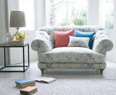 Bagsie love seat in our Dusty Blue Vintage Rose fabric