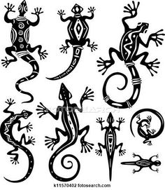 Clipart of Decorative lizards - Search Clip Art, Illustration Murals, Drawings and Vector EPS Graphics Images - Lizard Tattoo, Gecko Tattoo, Afrique Art, Motifs Animal, Native American Symbols, Marquesan Tattoos, Doodles Zentangles, Gourd Art, Aboriginal Art