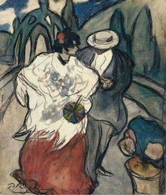 Pablo Picasso - Pareja en un jardín (Couple in a Garden). Madrid, 1901.