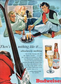 vintage budweiser beer ski lodge 1951