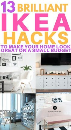 13+ Amazing IKEA Hacks to Make Your Home Look stunning on a small budget. Transform your bedroom, living room or kitchen with these clever and simple IKEA hacks. Hacks for dresser, bookshelves and storage closet. These hacks also include tips for your mudroom, entertainment centre and bathroom. #ikeahacks #ikeakitchen #ikeahacks #diyikeahack #ikeabedroom #ikeaideas