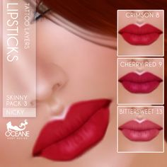 Nicky's matte lips (30 variety's) for Second Life. Like all my makeups, perfect stand alone layers that fit lots of skins and tans.  Marketplace:   https://marketplace.secondlife.com/stores/7401 www.oceanebodydesign.com http://maps.secondlife.com/secondlife/Isla%20Desirae/194/206/23
