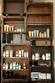 crate and pipe shelving at Stag Hair Parlor