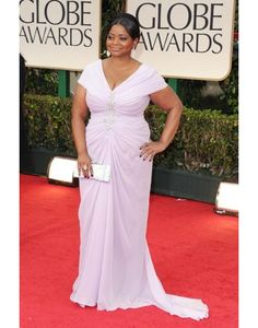 Chiffon V-neck Ruching Beading Octavia Spencer Celebrity Dress