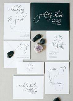 Gorgeous minimalist wedding invitation suite