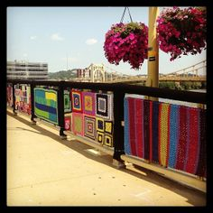 Pittsburg bridge crocheted in large group project