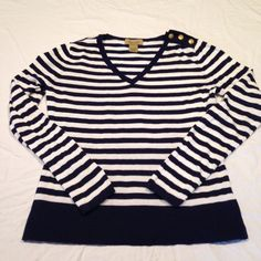 Navy Blue & White stripe Nautical Sweater Navy Blue & White stripes with gold button accents. V-neck.  Super soft cotton & rayon. Excellent condition. Brand is Peck & Peck Weekend. Sweaters