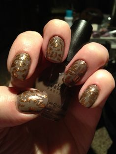 Cheetah nail art! Brown matte with cheetah sparkle!
