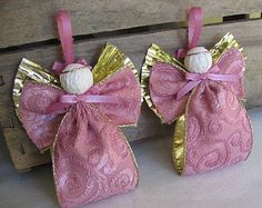 Pink Fabric Ribbon Angel Ornaments Set of TWO Pink and Gold Trimmed Ribbon Angel Tree Ornaments SnowNoseCrafts - Luisa Christmas Angel Crafts, Christmas Angel Decorations, Angel Ornaments, Christmas Tree Ornaments, Fabric Ribbon, Pink Fabric, Beaded Angels, Ribbon Crafts, Pink And Gold