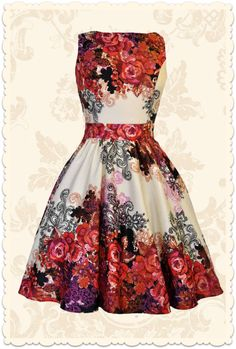 a0fef7b0412 Robe vintage rétro romantique Red Rose fleurs rouge