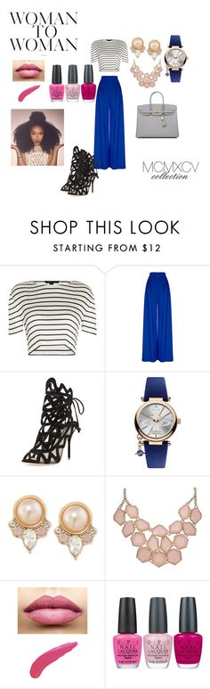 """Blue Dream"" by mcmxcv-collection on Polyvore featuring Alexander Wang, Sophia Webster, Vivienne Westwood, Carolee, TheBalm, OPI and Hermès"