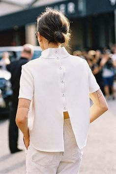 Backless button-down shirt