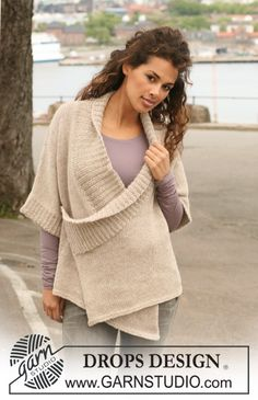 """Knitted DROPS wrap-round jacket in 2 strands """"Alpaca"""". Size S - XXXL. ~ DROPS Design"""