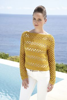 Sunny Sweater. Hook this cool cotton sweater for the warmer spring and summer days.