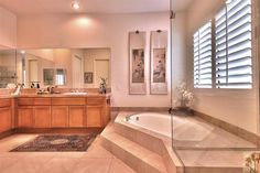 stunning master bathroom Palm Desert, Amazing Bathrooms, Corner Bathtub, My Dream Home, Master Bathroom, Tiny House, Home And Family, Deserts, Floor Plans