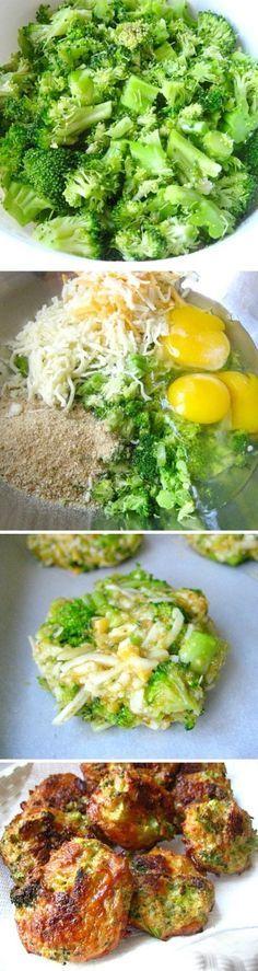 480g de brócolis, 1-1/2 xic de queijo ralado, 3 ovos, sal e pimenta do reino, 1 xic de farinha de amêndoas.