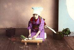 GEISHA CUTTING A RADISH -- Plain Salted Paper Prints of Beautiful Old Meiji-era Japan (#19) by Okinawa Soba, via Flickr
