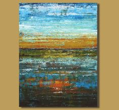 abstract painting of sunset, sunset painting, textured modern art, contemporary seascape ocean painting (30x40) Fire Lake