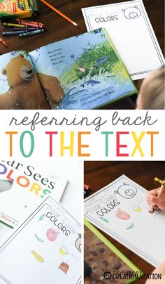 Practice referring back to the text with this engaging literacy activity for Pre-k, Kindergarten, First and Second-Grade classrooms. Toddler Learning Activities, Literacy Activities, Homeschooling Resources, Teaching Resources, Teaching Ideas, Classroom Resources, Reading Activities, Educational Activities, Literacy Centers