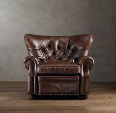 Restoration Hardware leather recliner