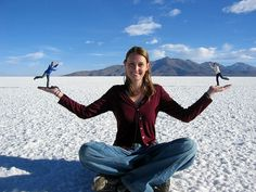 RadioKate's play with perspective on the salt flats in Bolivia