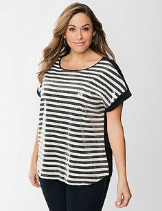 Covered with clear sequins for the perfect touch of subtle shine, our striped tee is packed with sparkling personality. Trendy wedge tee is perfect for the season with a sassy zippered back, scoop neck and rolled short sleeves. Pair it with your favorite denim for weekends or a curve-loving pencil skirt for an office-ready ensemble. lanebryant.com