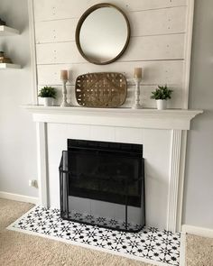 Decorating Trend 2018 | Stenciled and Painted Fireplace Hearth | Jewel Cement Tile Stencils | Cutting Edge Stencils #stencils #fireplace #decorating #diy #tilestencils #cementtile