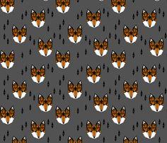 Geometric Fox Head - Rust and Gray fabric by Andrea Lauren #papersparrow #andrealauren