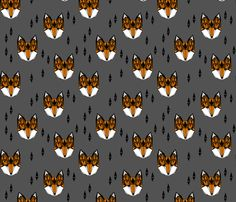 Geometric Fox Head - Rust and Gray fabric by Andrea Lauren #papersparrow #andrealauren