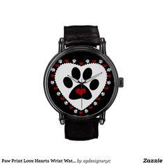 Paw Print Love Hearts Wrist Watch. #Animal #Pawprint #Watch #Pets