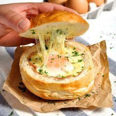 No Washing Up Ham, Egg & Cheese Bread Bowls   RecipeTin Eats